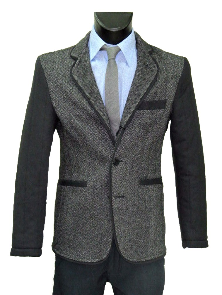 giubbotto uomo in lana stretch sartoriale slim con toppe giacca made RTc5wSgqS