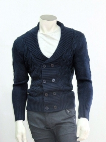 Maglia lana grossa uomo slim fashion maglion cardigan wool m l xl xxl made italy